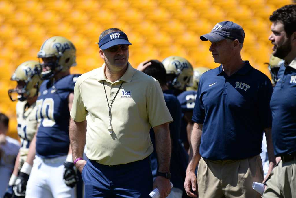 Head coach Pat Narduzzi now has seven pledges for his second full recruiting class at Pitt.  Jeff Ahearn | Senior Staff Photographer