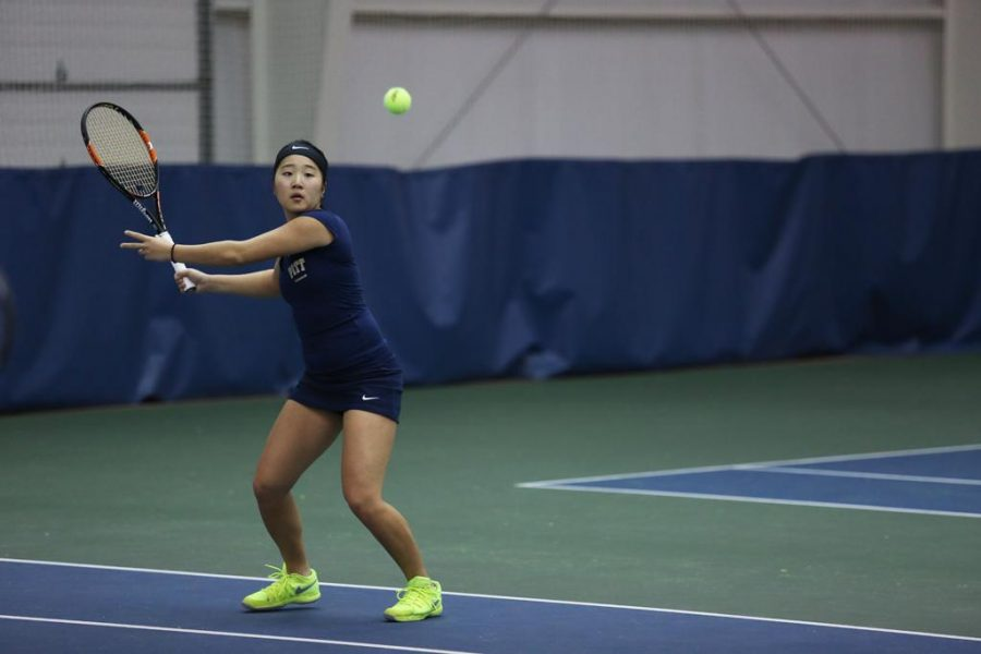 Natsumi+Okamoto%2C+pictured+playing+against+UNC+last+year%2C+teamed+up+with+teammate+Gabriela+Rezende+to+win+in+a+doubles+match+Saturday.+Photo+courtesy+of+Pitt+Athletics+