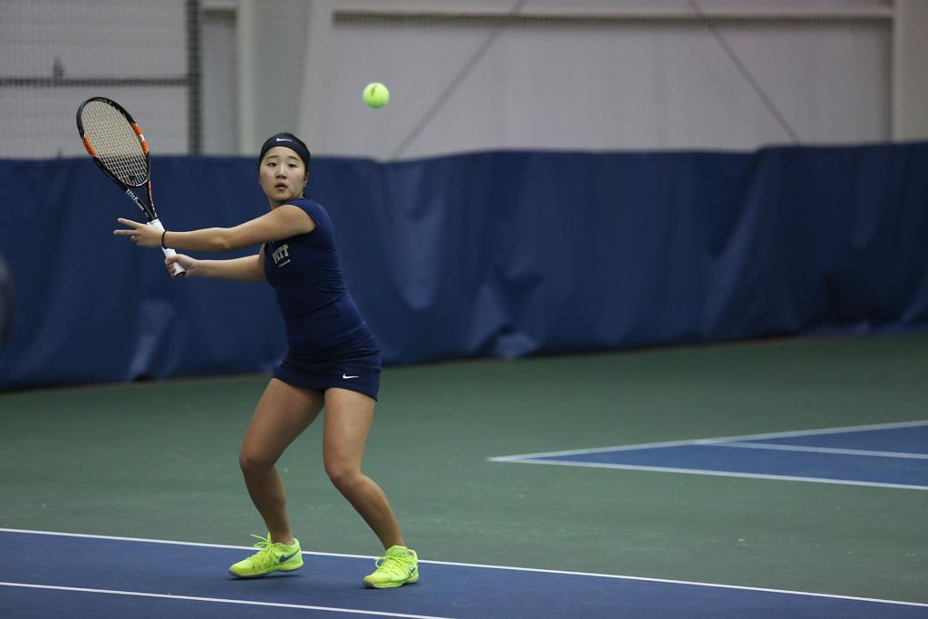 Natsumi Okamoto, pictured playing against UNC last year, teamed up with teammate Gabriela Rezende to win in a doubles match Saturday. Photo courtesy of Pitt Athletics