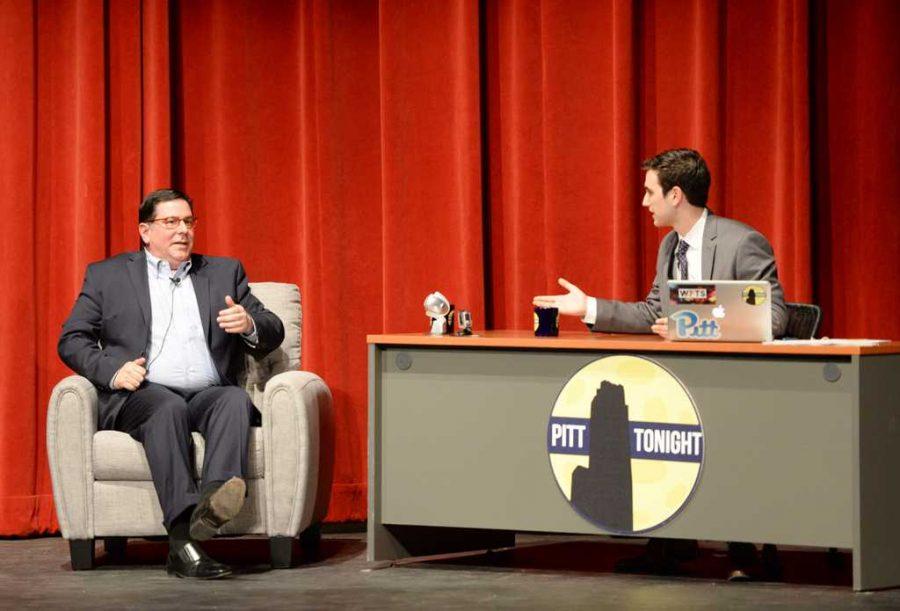 Jesse+Irwin+interviews+Mayor+Bill+Peduto+on+Pitt+Tonight.+Will+Miller+%7C+Staff+Photographer