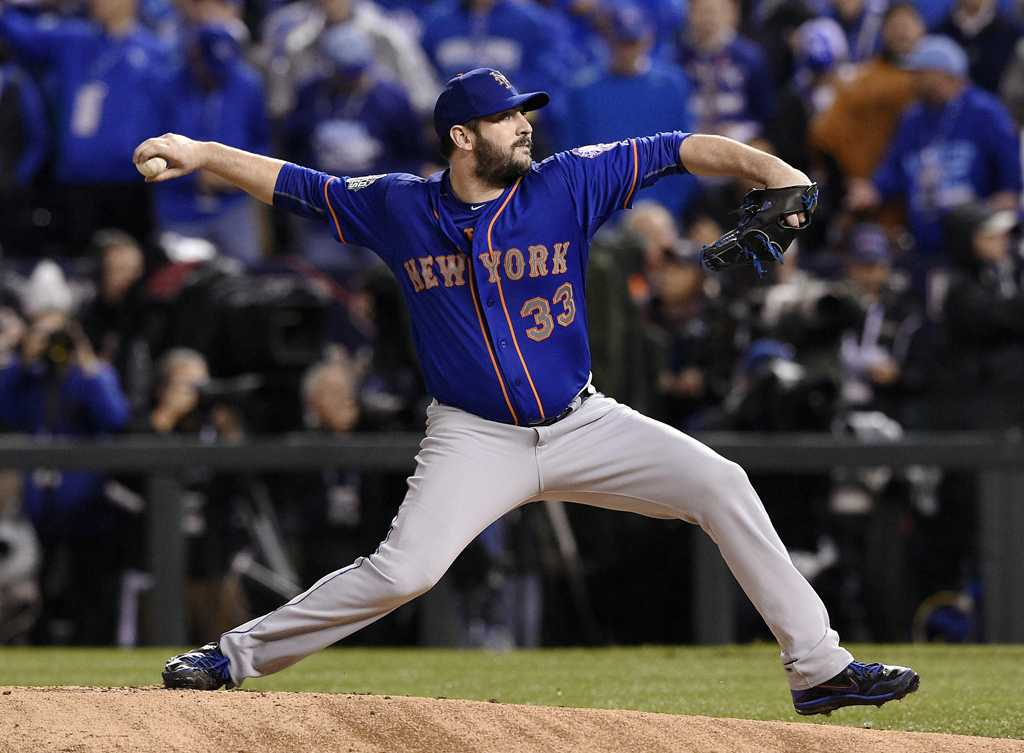 New York Mets starting pitcher Matt Harvey throws in the first inning against the Kansas City Royals in Game 1 of the World Series on Tuesday, Oct. 27, 2015, at Kauffman Stadium in Kansas City, Mo. (Shane Keyser/Kansas City Star/TNS)
