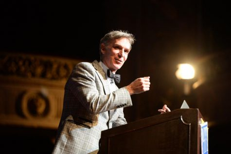 Billy Nye spoke at Carnegie Music Hall Friday night.  Jordan Mondell | Staff Photographer