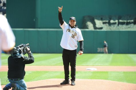 James Conner throws out the first pitch at Pirates opener