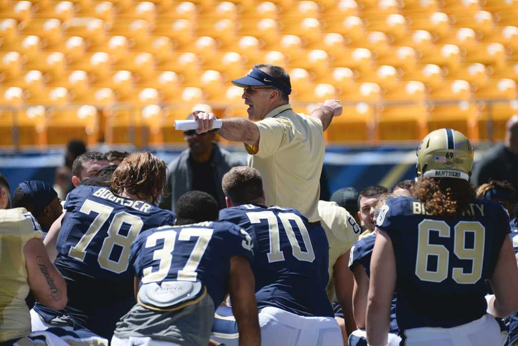 Pitt head coach Pat Narduzzi gets the Panthers ready for their first ACC game of the season against the Tar Heels.  Jeff Ahearn | Senior Staff Photographer