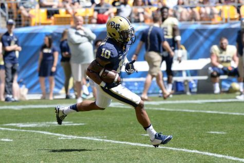 Quadree Henderson returns a punt at the Blue/Gold game. Jeff Ahearn | Assistant Visual Editor