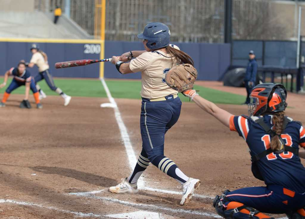 Jenna Modic connects with a pitch.  Wenhao Wu | Staff Photographer