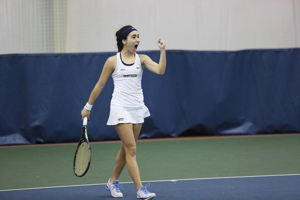 Sophomore Gabriela Rezende won her match at Penn State Sunday afternoon in straight sets. Photo Courtesy of Pitt Athletics