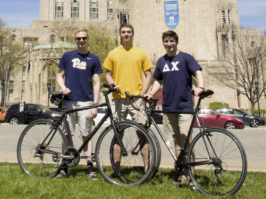 Zach+Ward%2C+Malcolm+Juring+and+Max+Lindsay+biked+from+Pitt%27s+campus+to+Iowa+City%2C+Iowa+to+raise+funds+for+cancer+research.+%2F+Courtesy+of+Malcolm+Juring