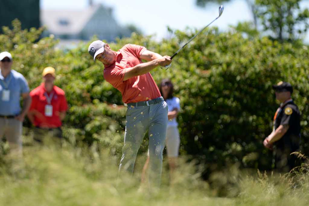 2015 US Open champ Jordan Spieth tees off on the 2nd hole. Jeff Ahearn | Senior Staff Photographer