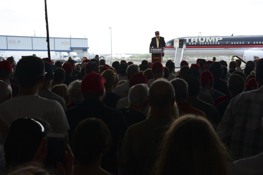 Trump speaks at Pittsburgh International Airport.  Stephen Caruso | Contributing Editor