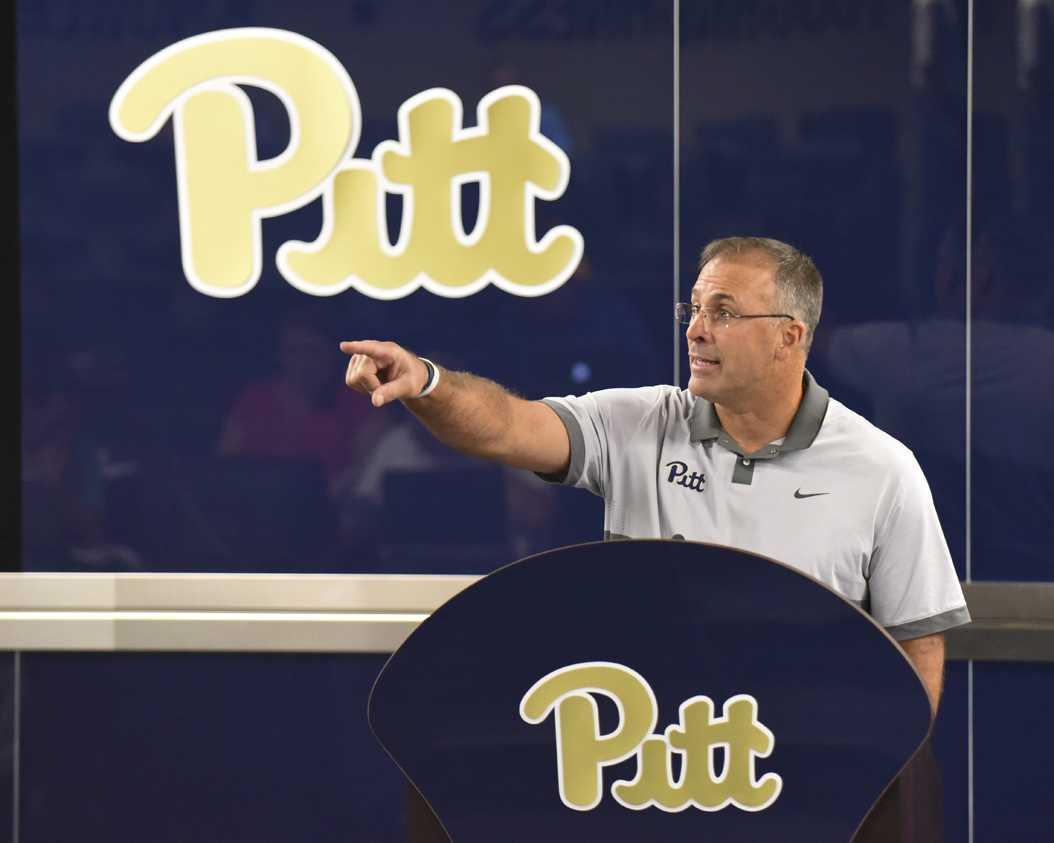 Pitt head coach Pat Narduzzi addressed the media Monday at Pitt's South Side practice facility. Matt Hawley | Staff Photographer