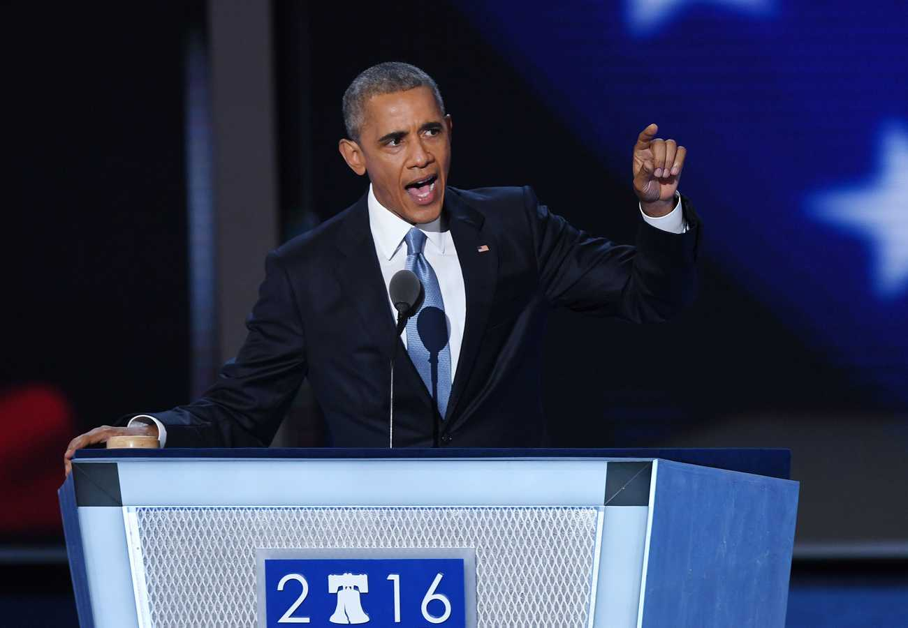 President Obama speaks during the third day of the Democratic National Convention at the Wells Fargo Center in Philadelphia on Wednesday, July 27, 2016. (Olivier Douliery/Abaca Press/TNS)