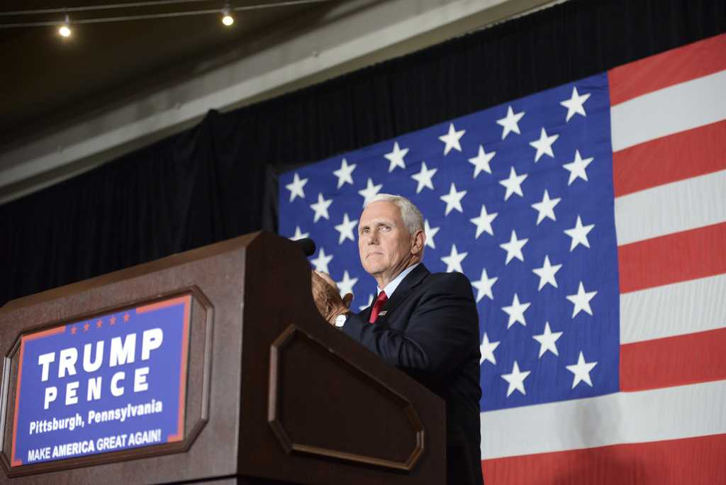 Mike Pence, the Republican candidate for Vice President, spoke at the Senator John Heinz History Center Tuesday. Stephen Caruso | Contributing Editor