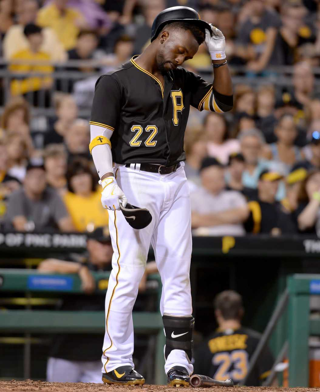 Andrew McCutchen reacts after striking out against the Miami Marlins in the sixth inning Saturday, Aug. 20, 2016, at PNC Park. (TNS)