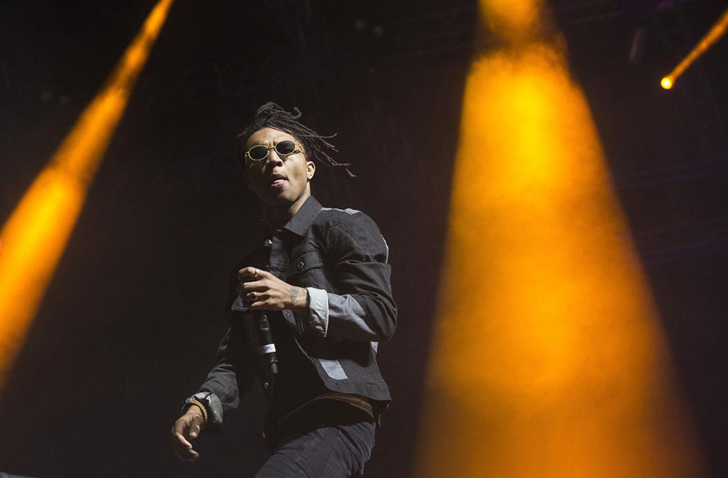 Rae Sremmurd's Swae Lee performs on the Sahara stage at the Coachella Music and Arts Festival in Indio, Calif., late on Friday, April 15, 2016. (Brian van der Brug/Los Angeles Times/TNS)