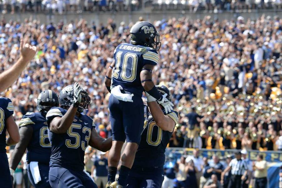 Wide+receiver+Quadree+Henderson+%2810%29+and+teammates+celebrate+a+first-quarter+touchdown+against+Penn+State.+Jeff+Ahearn+%7C+Senior+Staff+Photographer