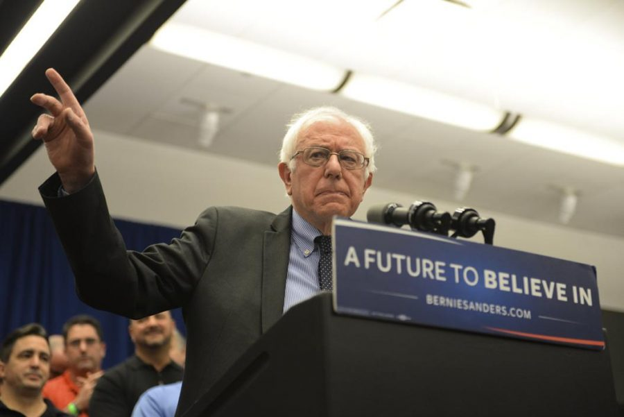 Bernie+Sanders+speaks+to+media+and+supporters+at+a+rally+held+in+Pittsburgh+last+March.
