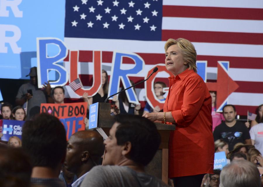 Presidential candidate Hillary Clinton at a campaign event over the summer. Stephen Caruso / Senior Staff Photographer.