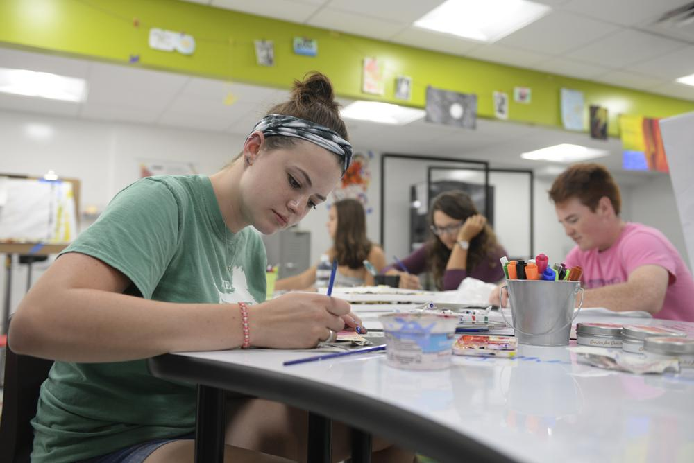 Pitt student Lauren Jordan crafts at the Center for Creativity, which opened last spring. John Hamilton / Staff Photographer.