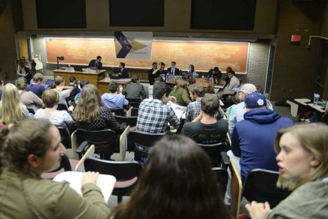 More than 80 students attended Pitt's political debate Thursday night. Meghan Sunners | Senior Staff Photographer