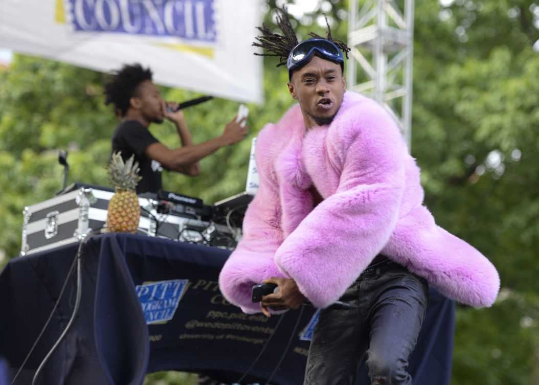Hip-hop duo Rae Sremmurd entertained students with pineapples and colorful outerwear over the weekend. Meghan Sunners / Senior Staff Photographer.