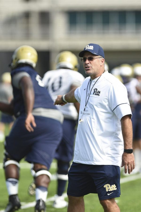 Pitt+head+coach+Pat+Narduzzi+knows+his+defense+will+have+to+be+ready+to+stop+both+the+run+and+the+pass+against+UNC.+Matt+Hawley+%7C+Staff+Photographer