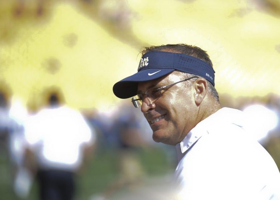 After+winning+the+game+against+Penn+State+this+weekend%2C+Pitt+head+coach+Pat+Narduzzi+turned+his+attention+to+Oklahoma+State.+John+Hamilton+%2F+Staff+Photographer.