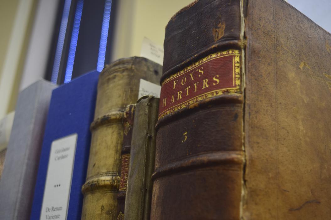 A close-up of a shelf part of Pitt's Rare Books collection. Edward Major | Staff Photographer