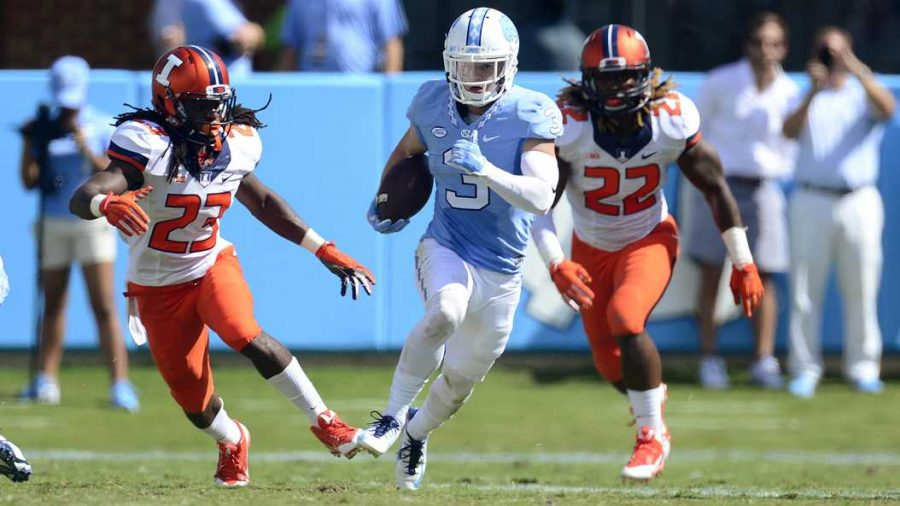 UNC+WR+Ryan+Switzer+%283%29+torched+the+Panthers+for+the+fourth+year+in+a+row.+Jeffrey+A.+Camarati+%7C+Courtesy+of+UNC+Athletics.