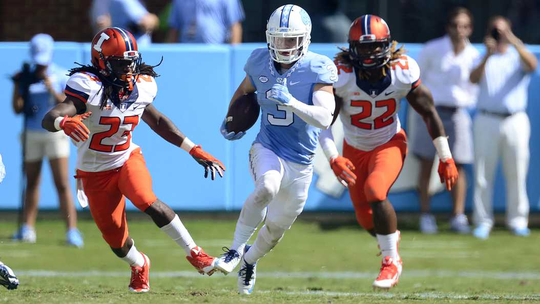 UNC WR Ryan Switzer (3) torched the Panthers for the fourth year in a row. Jeffrey A. Camarati | Courtesy of UNC Athletics.