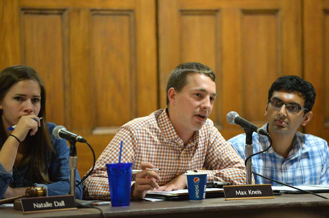 Max Kneis discusses finances at Tuesday's Student Government Board meeting. | William Miller, Senior staff Photographer