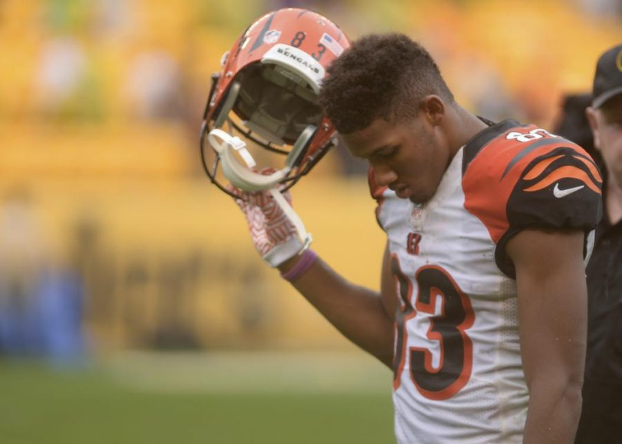 Tyler+Boyd+finished+with+six+catches+for+78+yards+and+one+costly%2C+controversial+fumble+against+the+Steelers.+Matt+Hawley+%2F+Staff+Photographer.