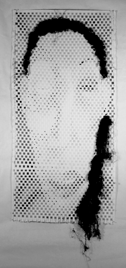 %22Mask%22%3A+%22This+piece+is+ink+and+thread+on+paper+and+was+made+for+an+assignment+for+the+Drawing+2+class.++Again%2C+I+drew+the+face%2C+then+cut+the+paper+and+wove+it+back+together.++I+wanted+to+look+at+how+we+use+makeup+as+masks+in+our+society%2C+but+I+also+wanted+to+examine+how+idealized+images+of+beauty+persist+through+art+through+time+and+place.++I+looked+at+African+tribal+masks+from+the+Congo+and+noticed+how+different+their+idealized+features+were%2C+but+they%27re+still+idealized.++I+wanted+to+look+at+how+we+modify+our+appearances+to+fit+different+norms.%22