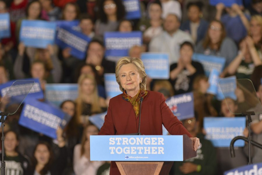 Hillary+Clinton+and+Tim+Kaine+campaigned+at+Taylor+Allderdice+High+School+in+Squirrel+Hill+on+Saturday.+Stephen+Caruso+%7C+Senior+Staff+Photographer