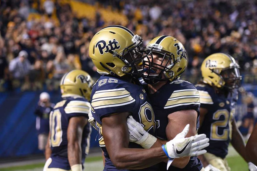 Junior+wide+receiver+Jester+Weah+%2885%29+sealed+Pitt%27s+win+against+Marshall+with+a+54-yard+touchdown+reception.+Matt+Hawley+%7C+Staff+Photographer