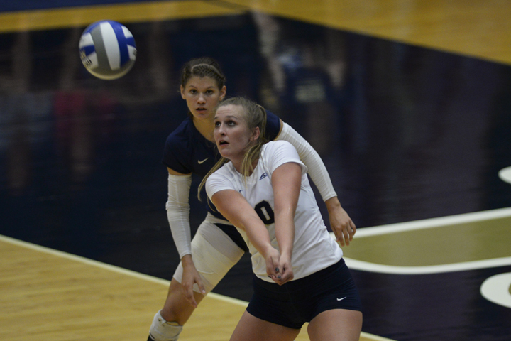 Mariah+Bell+%2810%29+and+the+Pitt+volleyball+team+advanced+to+the+second+round+of+the+NCAA+Tournament+with+a+3-1+win+over+Dayton+on+Friday.+Jeff+Ahearn+%7C+Senior+Staff+Photographer