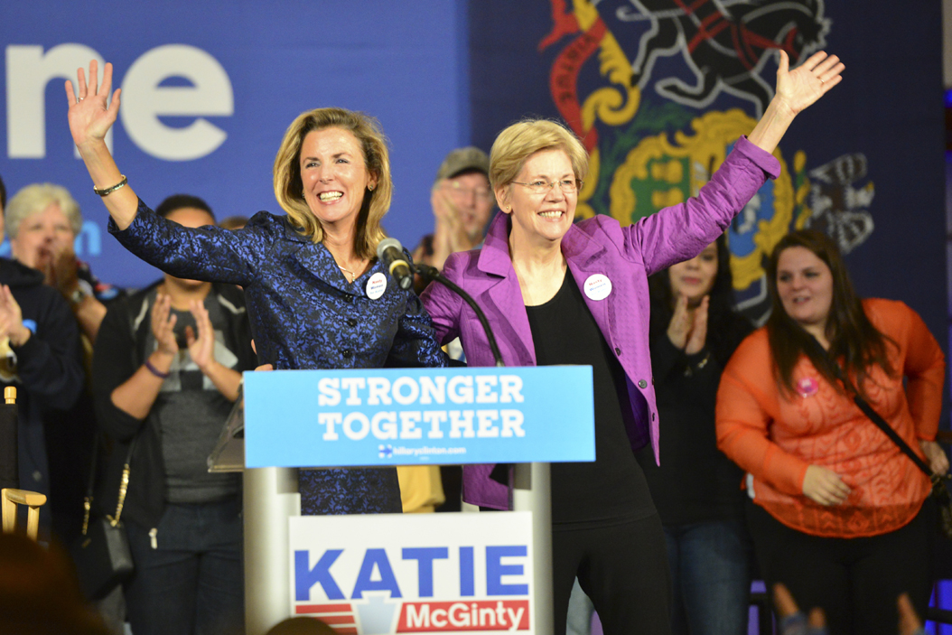 Sen. Elizabeth Warren visited Alumni Hall in October 2016 to rally for Katie McGinty for Senate and Democratic presidential nominee Hillary Clinton.