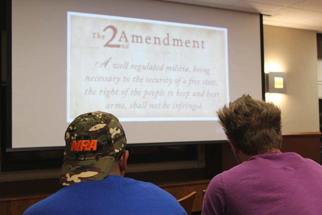 Christian Ragosta from the NRA talked to Pitt students about gun rights and safety.| Katie Krater, Staff Photographer