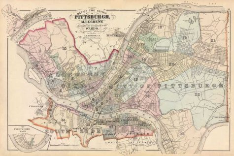 An antique map of Pittsburgh. Courtesy of University Library Systems