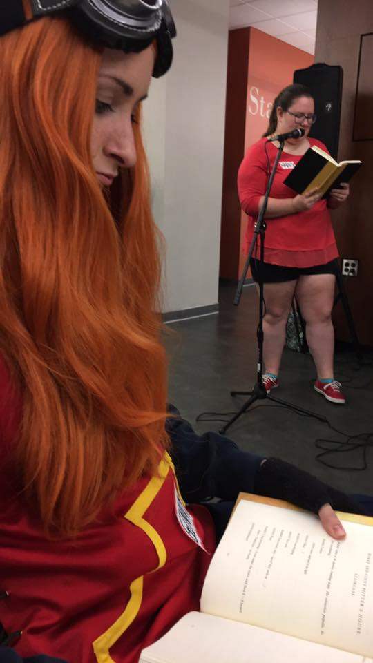 Students gathered in Hillman Library Friday night to for a group reading of new play. Courtesy of Kaitlin Mausser.