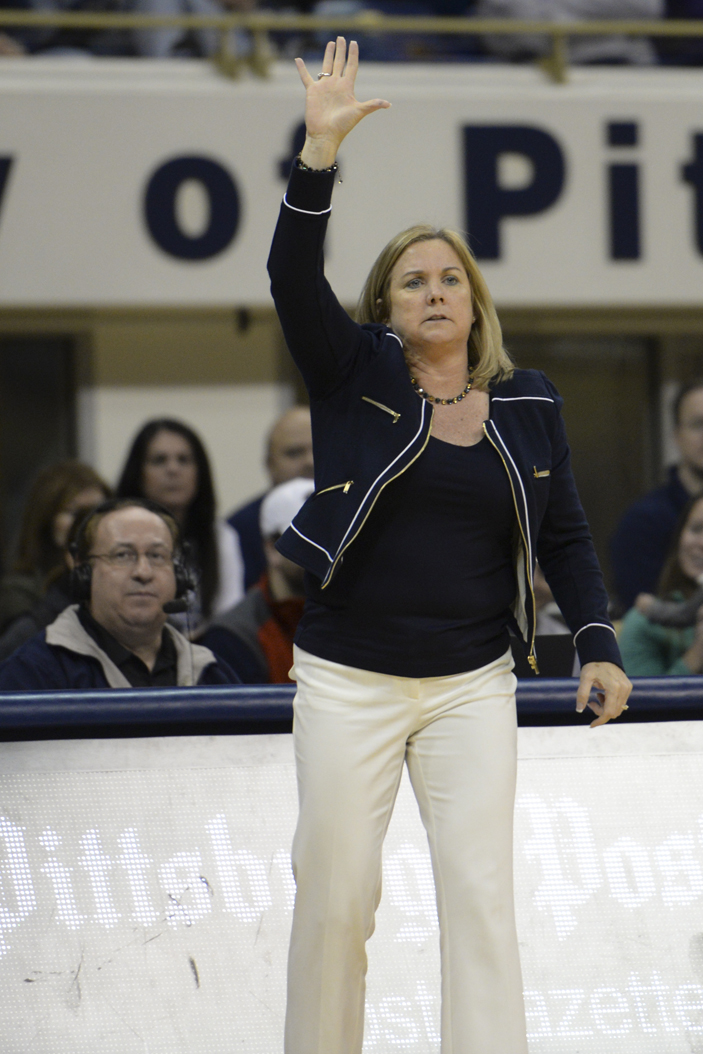 Pitt women's basketball head coach Suzie McConnell-Serio is entering her fourth year as the Panthers' coach. Wenhao Wu | Senior Staff Photographer