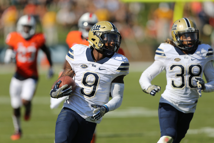 Jordan+Whitehead+%289%29+had+a+key+interception+return+for+a+touchdown+in+Pitt%27s+45-31+win+at+Virginia.+%28Courtesy+of+Pitt+Athletics%29%0A