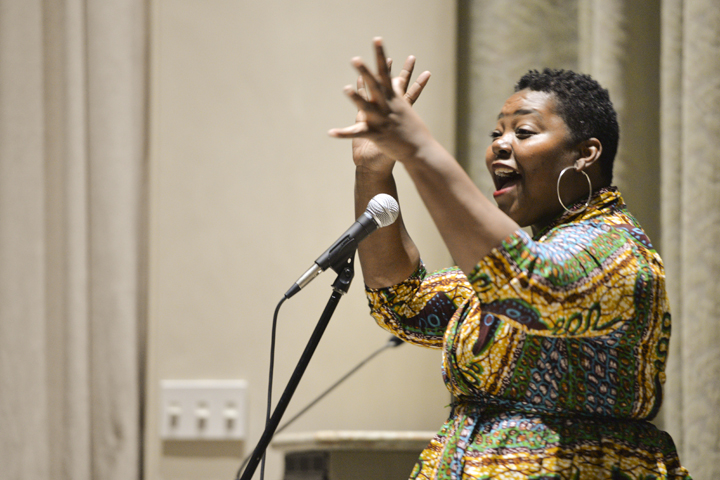 Mahogany+Browne%2C+writer+educator%2C+activist+and+founder+of+Black+Poets+Speak+Out+performs+an+original+poem+at+last+night%E2%80%99s+event+%7C+Julia+Zhu%2C+Staff+Photographer
