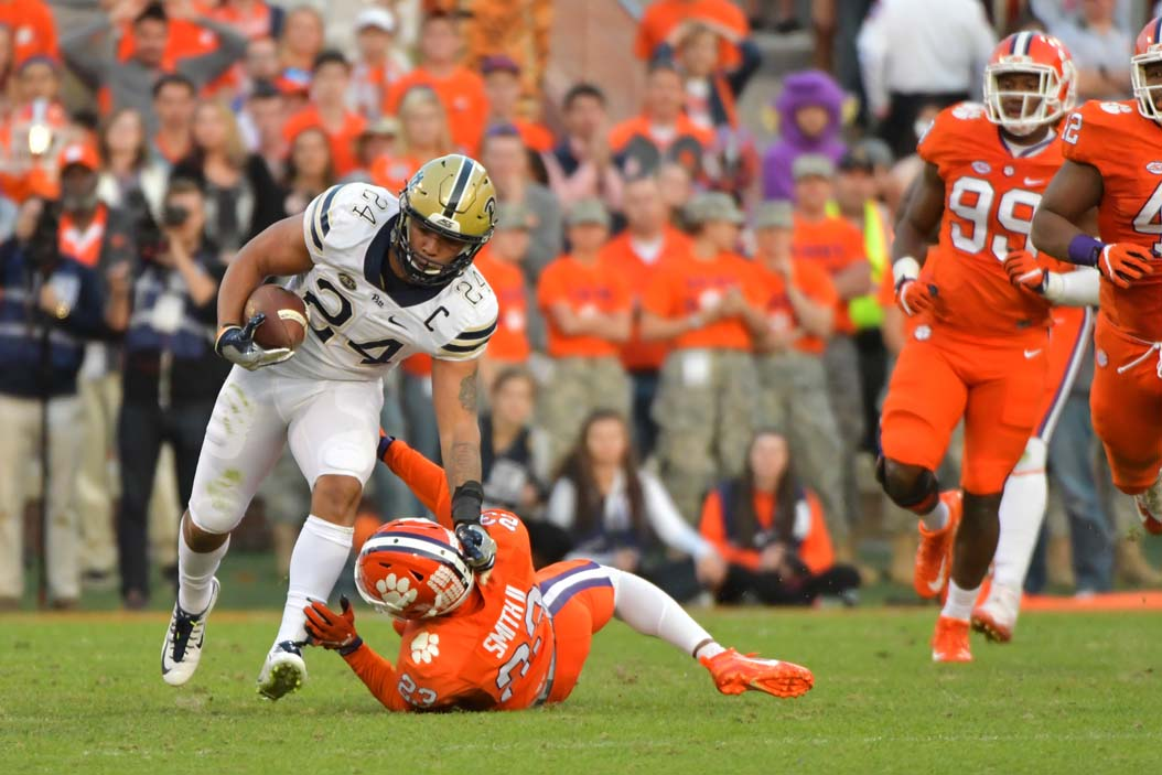 Pitt's James Conner (24) is the winner of the 2016 Capital One Orange Bowl-FWAA Courage Award. | Courtesy Pitt Athletics