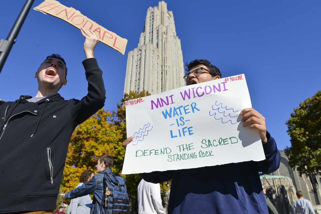 "Pitt first year engineering students Jacob Richards (left) and Sagar Kamath (right) heard about the event through Facebook. Kamath came because he's learned ""water is essential"" for societies and economies, and fears the impact of a spill of the Dakotas Access Pipeline. Stephen Caruso 
