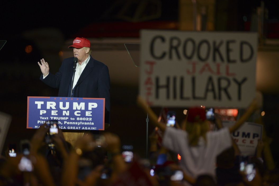 Signs and chants about Hillary Clinton were common at the rally. John Hamilton | Senior Staff Photographer