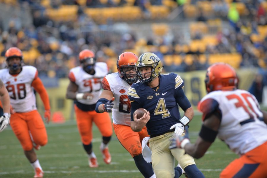 Pitt QB Nathan Peterman ran for 79 yards and a touchdown on six carries to go with 251 passing yards and four passing scores in a 76-61 win. Steve Rotstein | Contributing Editor