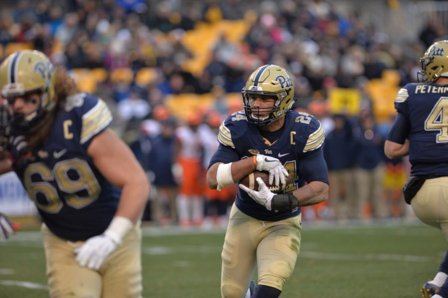 Pitt+RB+James+Conner+tallied+160+total+yards+and+three+touchdowns+in+Pitt%27s+76-61+win+over+Syracuse.+Steve+Rotstein+%7C+Contributing+Editor