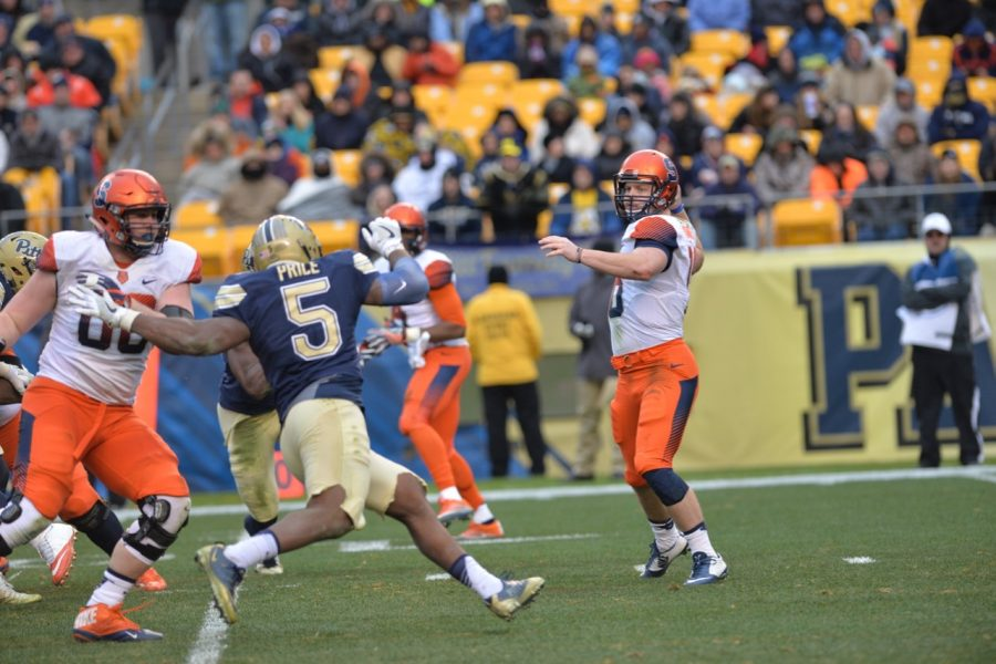 Pitt sixth-year senior defensive end Ejuan Price (5) notched his 12th sack of the season against Syracuse, giving him back-to-back seasons with double-digit sacks. Steve Rotstein | Contributing Editor