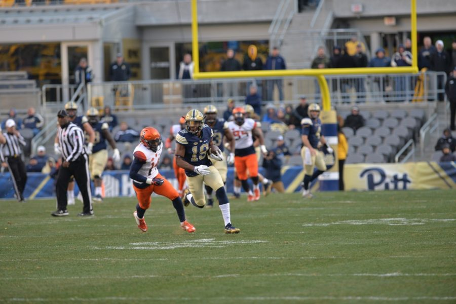 Pitt senior WR Dontez Ford breaks loose for a 79-yard touchdown reception in the fourth quarter. Steve Rotstein | Contributing Editor
